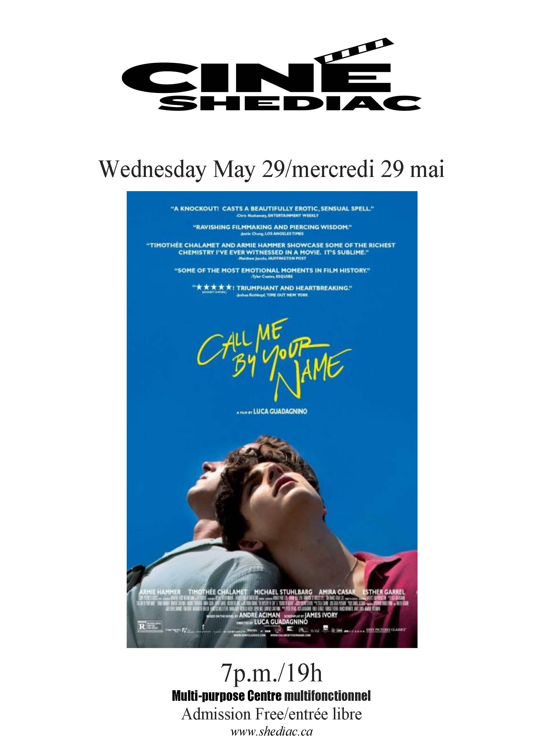 Call me by your name 29 mai